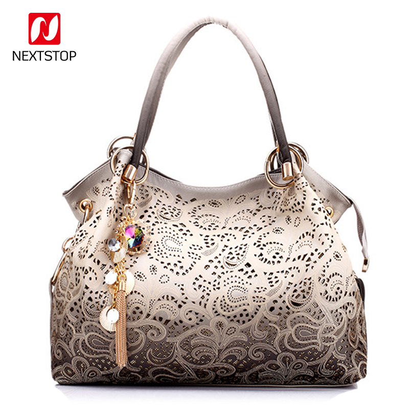 NEXTSTOP Fashion women bag printing floral hollow out handbag pu leather ladies brand luxury design tote bag red/blue/gray/pink игрушка ecx ruckus gray blue ecx00013t1