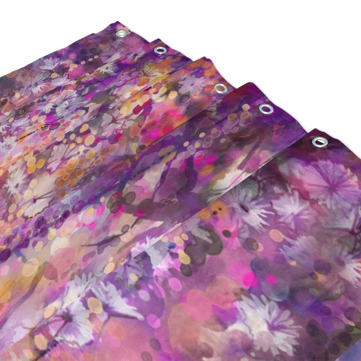 Abstract Flowers Watercolor Painting Shower Curtain And Mat Set Spring Purple Florals Waterproof Fabric Bathroom Curtain
