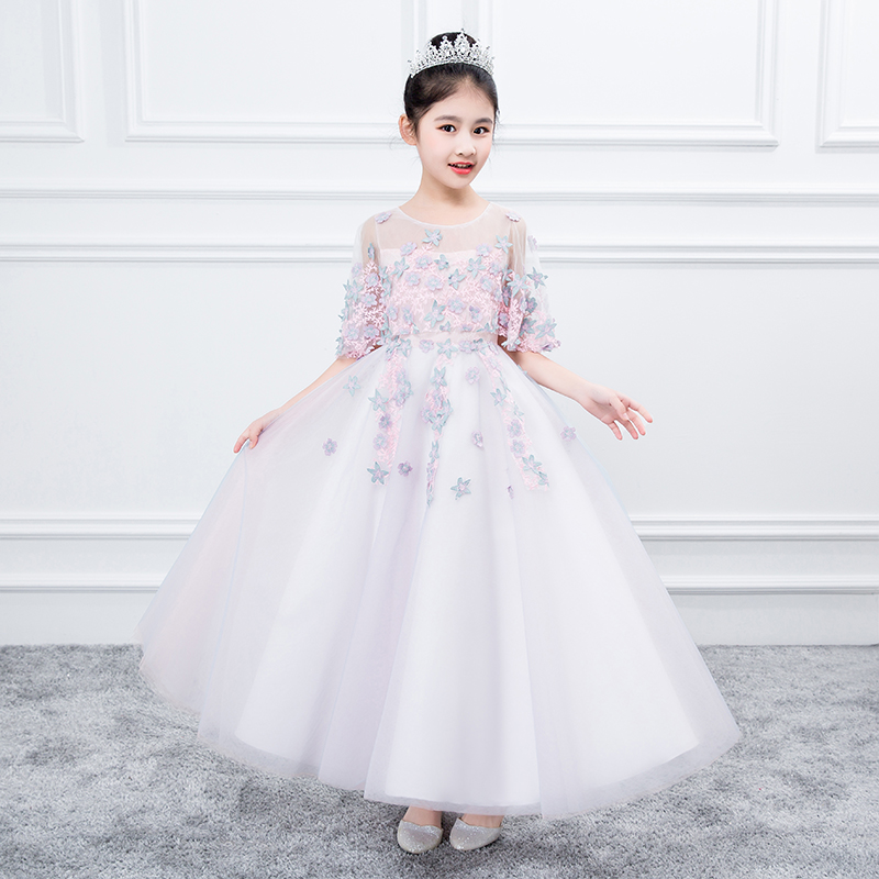 3-15Y Kids Girls Flowers Formal Birthday Party Ball Gown Princess Dress Bridesmaid Wedding Children First Communion Tutu Dress cute green princes puffy tutu dress children girls ball gown dress add multilayer flowers handmade tutu dress for wedding party