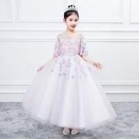 3 15Y Kids Girls Flowers Formal Birthday Party Ball Gown Princess Dress Bridesmaid Wedding Children First Communion Tutu Dress