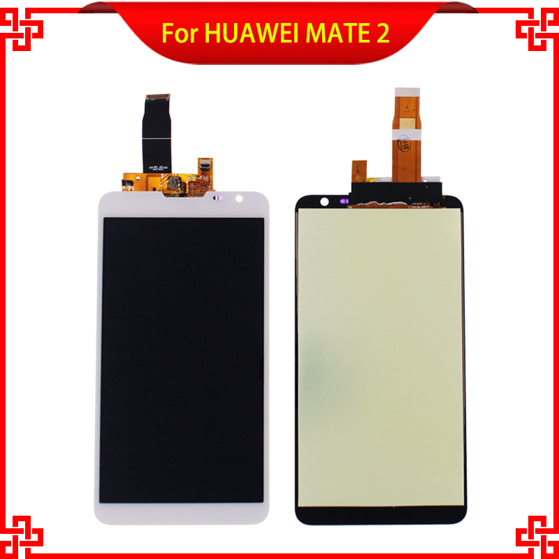 100% Guarantee Tested LCD Display Touch Screen For HUAWEI MATE 2 High Quality 6.1'' White Mobile Phone LCDs Free Shipping original guarantee for htc desire x t328e lcd disply touch screen panel digitizer with frame gold or black color best quality
