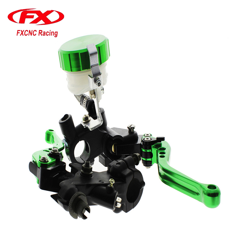 FXCNC Motorcycle Lever Universal Adjustable Hydraulic Brake Cable Motorcycle Clutch Levers Master Cylinder Reservoir Set fxcnc universal stunt clutch easy pull cable system motorcycles motocross for yamaha yz250 125 yz80 yz450fx wr250f wr426f wr450