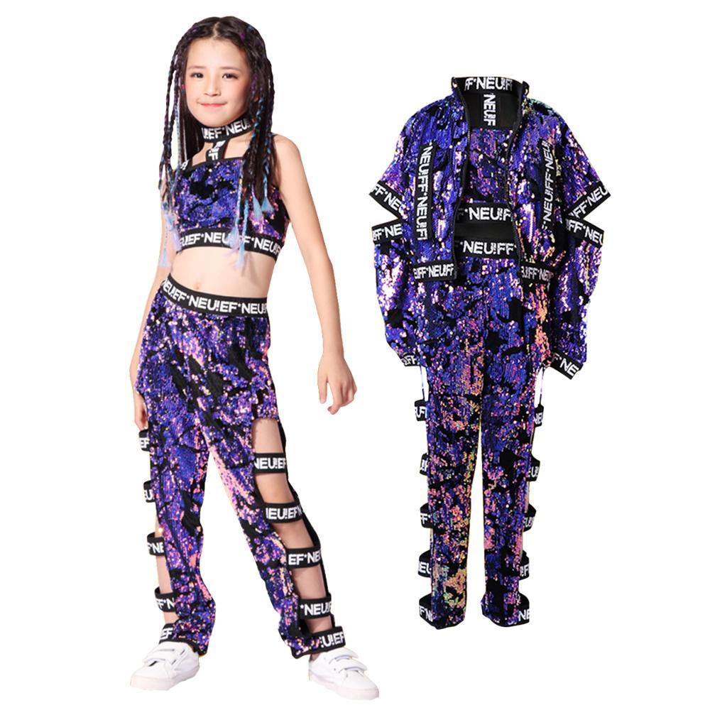 >Girls Hip-hop Jazz Stage Dance Costume Street Dancing Bling Sequins Purple Crop <font><b>Tops</b></font> Pants Outfits Kids Dance Wear