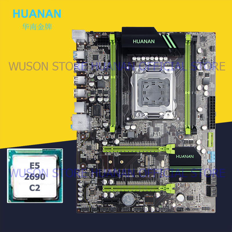 HUANAN ZHI X79 motherboard bundle with dual M.2 NVMe SSD slots discount motherboard with CPU Xeon E5 2690 C2 2 years warranty-in Motherboards from Computer & Office    1