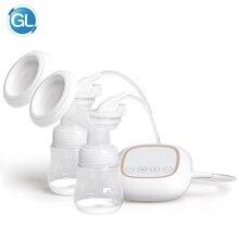 GL Электрический молокоотсос с двойной бутылочкой, портативный молокоотсос с высокой мощностью всасывания, USB зарядка, внутренний перезаряжаемый аккумулятор, Электрический молокоотсос