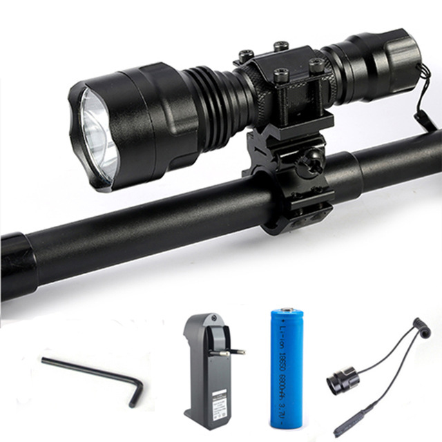 Hunting light C8 Tactical Flashlight T6 L2 led Lantern LED torch+18650 battery+Charger+Pressure Switch Gun Mount FlashLight Lam c8 q5 led hunting flashlight torch cree led red green blue light camping lamp 1 mode 18650 battery charger gun mount switch
