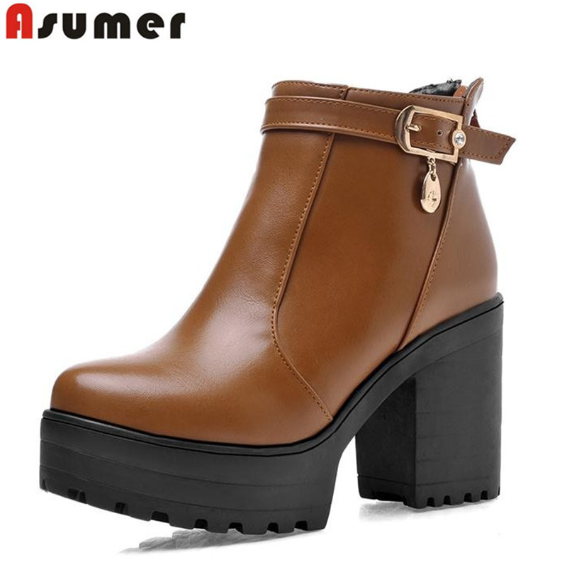 Asumer big size 34-43 new arrive high quality pu high heels ankle boots round toe black yellow white buckle boots for women 2016 new arrive high quality genuine leather high heels ankle boots fashion round toe simple leisure women autumn boots