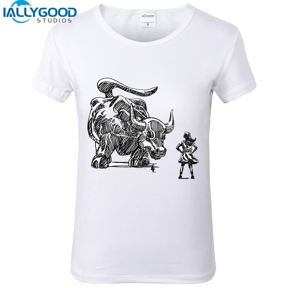 Wall Street Fearless Girl T Shirt Women Copper Bull Print