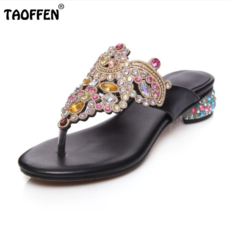 TAOFFEN National Style Women Genuine Leather Flats Sandals Beading Flats Flip Flops Summer Shoes Woman Slippers Size 34-39 sandals women flower beading summer flip