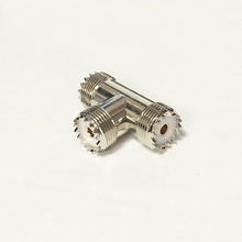1pc NEW UHF Female Jack To 2 UHF female jack Triple T Type splitter RF Coax Adapter convertor straight  Nickelplated  wholesale