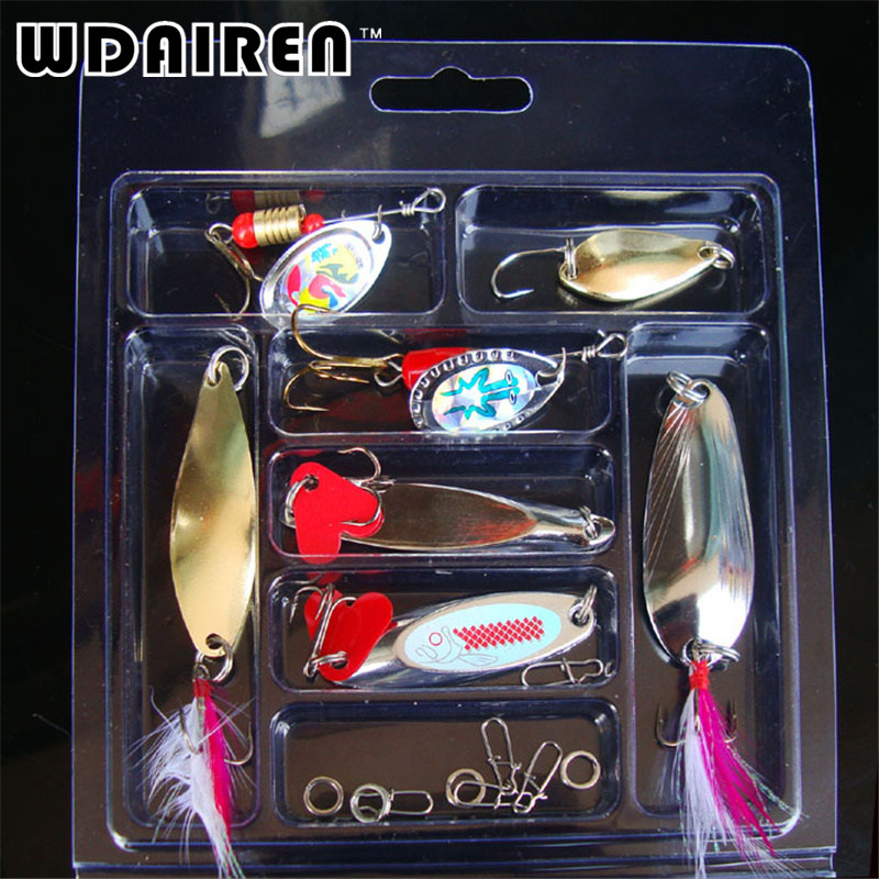 Bionic Lure Fishing Set Hard Metal Sequin Spinner For Treble Hooks Spoon Wire Bait And Pin Fish Tool Tackle Box Wholesale 4pcs set of fishing lures saltwater hard bait metal spoon fishing lure spinner wobbler treble hooks for sea fishing accessory