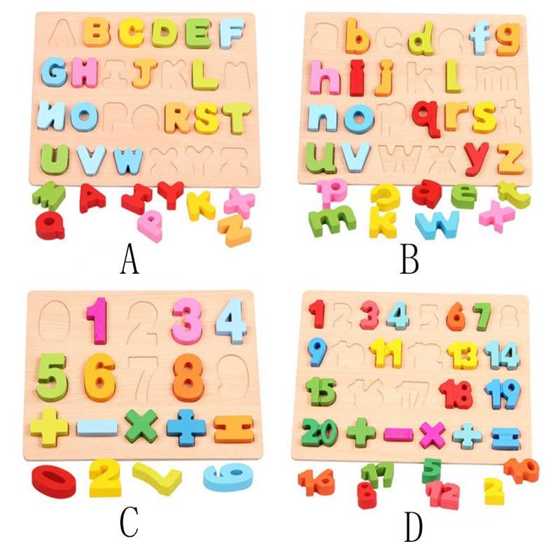 Kids toys jouet enfant wooden alphabet puzzle board toy - Jouet alphabet ...