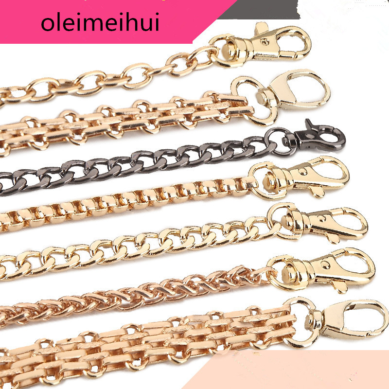120cm Metal Stainless Steel Purse Chain Strap Handle Shoulder Crossbody Handbag Bag Belt Metal Replacement 3 Color Handles