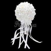 Blanco Ramo De La Boda Ramo de Novia de dama de Honor Con Flores Artificiales Rosas Cintas Bow Rhinestone Para Accesorios de La Boda