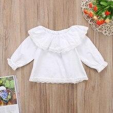 Красивая детская одежда для новорожденных девочек Fille Jolie/Свободный Топ принцессы с кружевным воротником и оборками с длинными рукавами, одежда
