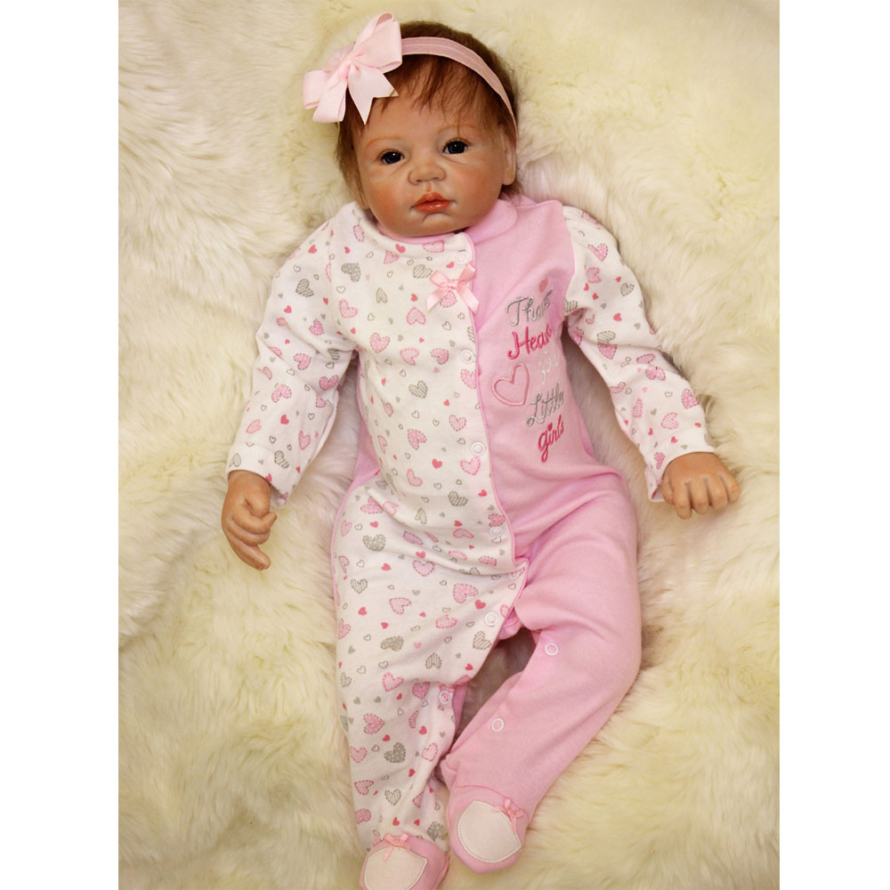 50-55CM Silicone Doll Reborn Baby girl realistic Handmade Cloth Body Reborn Babies pink Toys Baby Growth Partners Best kids Gift partners cd