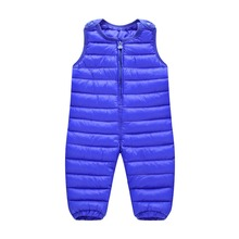 Clothing down cotton suspenders jumpsuit baby thickening male female child winter trousers open file Kids Parkas Overalls