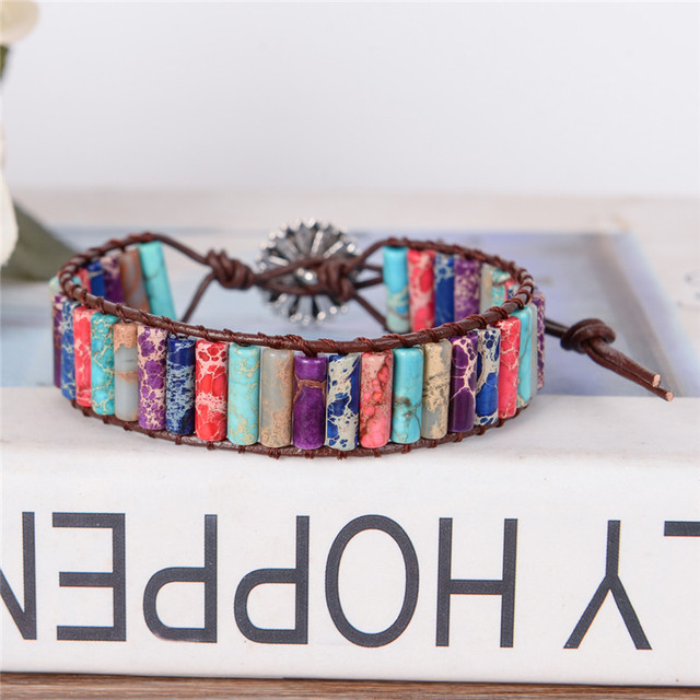 Boho Tube Shape Natural Stone Beaded Bracelet Unique Friendship Leather Bracelet Dropshipping Single Leather Wrap Bracelet 3
