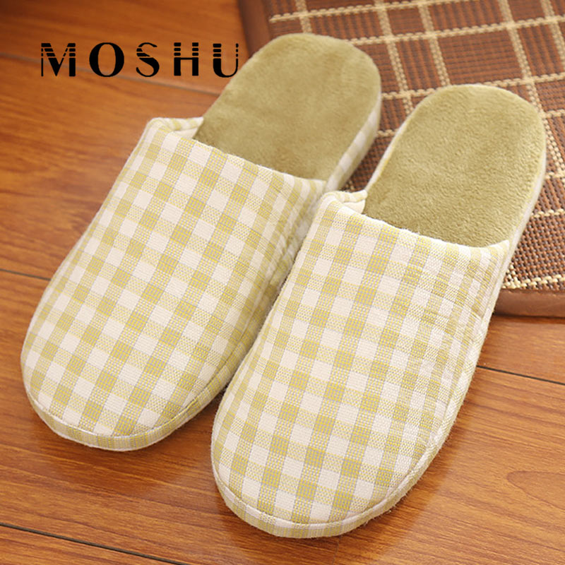 Winter Home Cotton Slippers Men Fashion Wooden Floor Non-Slip Slippers Gingham Plush Indoor Shoes For Woman Japanese Style fashion autumn and winter indoor home lovers cotton drag floor plush slippers female slip resistant