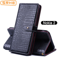 SRHE For Nokia 2 Case Flip Luxury Leather Silicone Wallet Nokia2 TA-1029 TA-1035 TA 1029 1035 With Magnet Holder