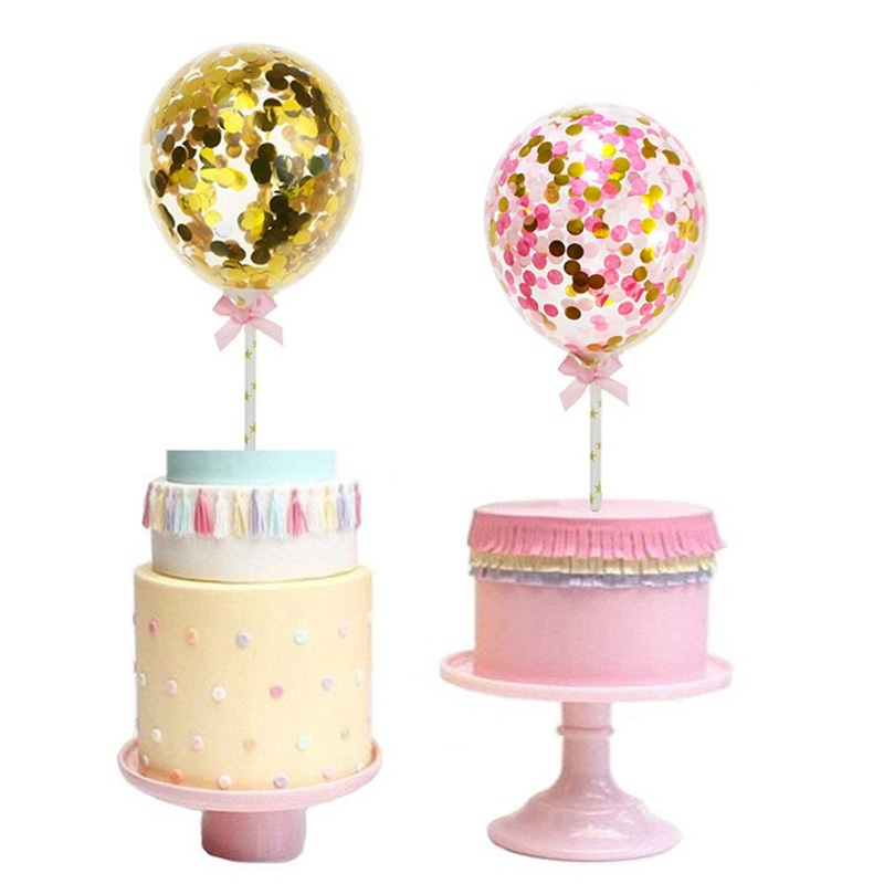1 Set 5inch Confetti Balloon Cake Topper Decoration with Paper Straw Bow Baby Shower Favors Wedding Birthday Party Supplies