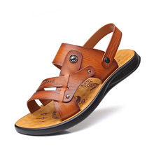 Boy Classic Men Soft Leather Sandals Comfortable Summer Shoes Big Size Leisure Beach DB0222