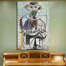 Pablo Picasso Holding A Pipe Canvas Poster Prints Marble Abstract Wall Art Painting Decorative Picture Modern Home Decoration HD