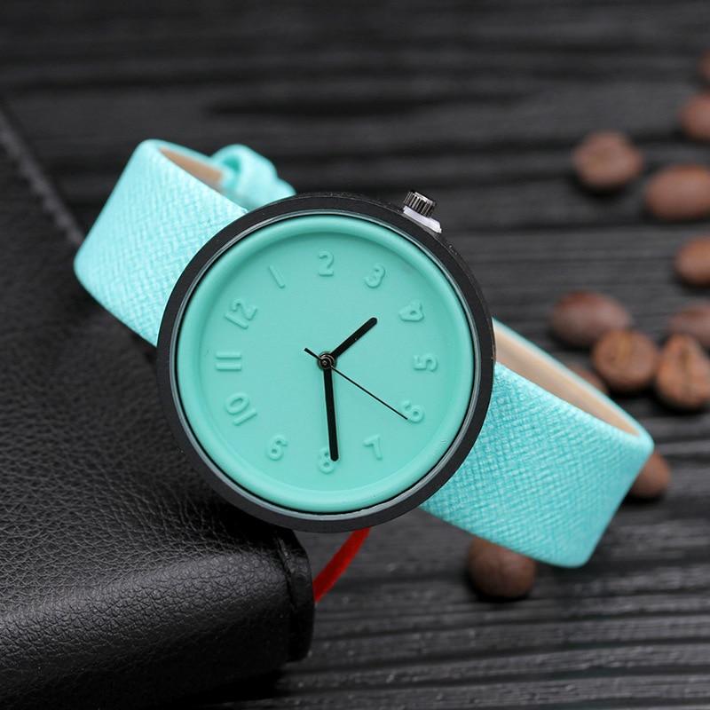 Women Dress Watches 10 Colors Fashion Canvas PU Leather Band  Female Number Simple Quartz Ladies 2019 Wrist Watch 819