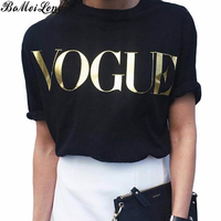 Summer Fashion Brand Designer T Shirt Women VOGUE Printed Leisure Shirt Women Tops Loose Large Size