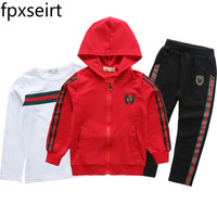 Full Sleeve Jacket Coat Tops Pants Tshirt Clothes 3PCS Autumn Spring Kids Clothes Hooded Children Kids