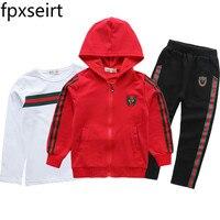 Full Sleeve Jacket Coat Tops Pants Tshirt Clothes 3PCS Autumn Spring Kids Clothes Hooded Children Kids