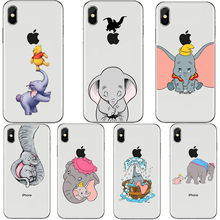 Cartoon elephant Winnie Pooh Phone Case For iphone Xs MAX XR X 6 6s 7 8 plus 5s 5 SE Cute dumbo silicone TPU back cover Capa(China)
