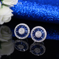 Fashion Women CZ Synthetic Diamond Jewelry Sparkling Zirconia Royal Blue Round Crystal Big Stud Earrings For Party ER289