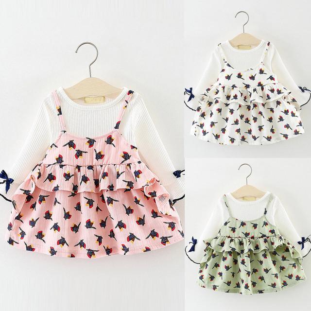 MUQGEW Newborn Infant Baby Girl Clothes Long Sleeve Toddler Cartoon Princess Dress Clothes Outfits roupas de bebe