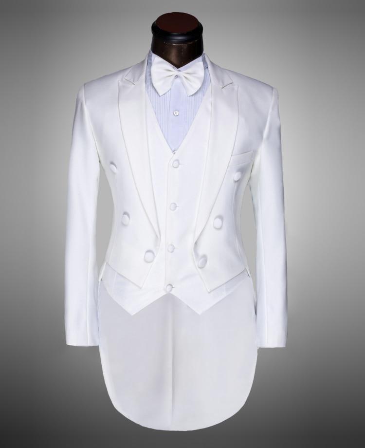 Cravate Noir Chanteur Smoking Costumes Mode Slim veste blanc Bal Noir Marié Tailcoat Mâle Fit 2017 Mariage Hommes Blanc Gilet Pantalon D'arc De HwEZq