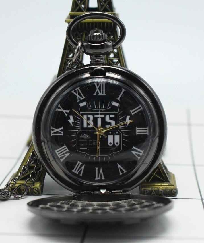 Antique BTS Quartz Pocket Watch Analog Pendant Necklace Chain Mens Womens Watches Birthday Gift Relogio De Bolso Black