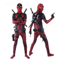 Adult and Kids Deadpool Cosplay Costume Wade Wilson Zentai Superhero Bodysuit Jumpsuits Cosplay Belt Headwear Mask Sword Holster