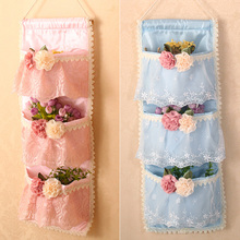 Multi-layer fashion lace cloth bag door after the walls sundries storage bags sorting