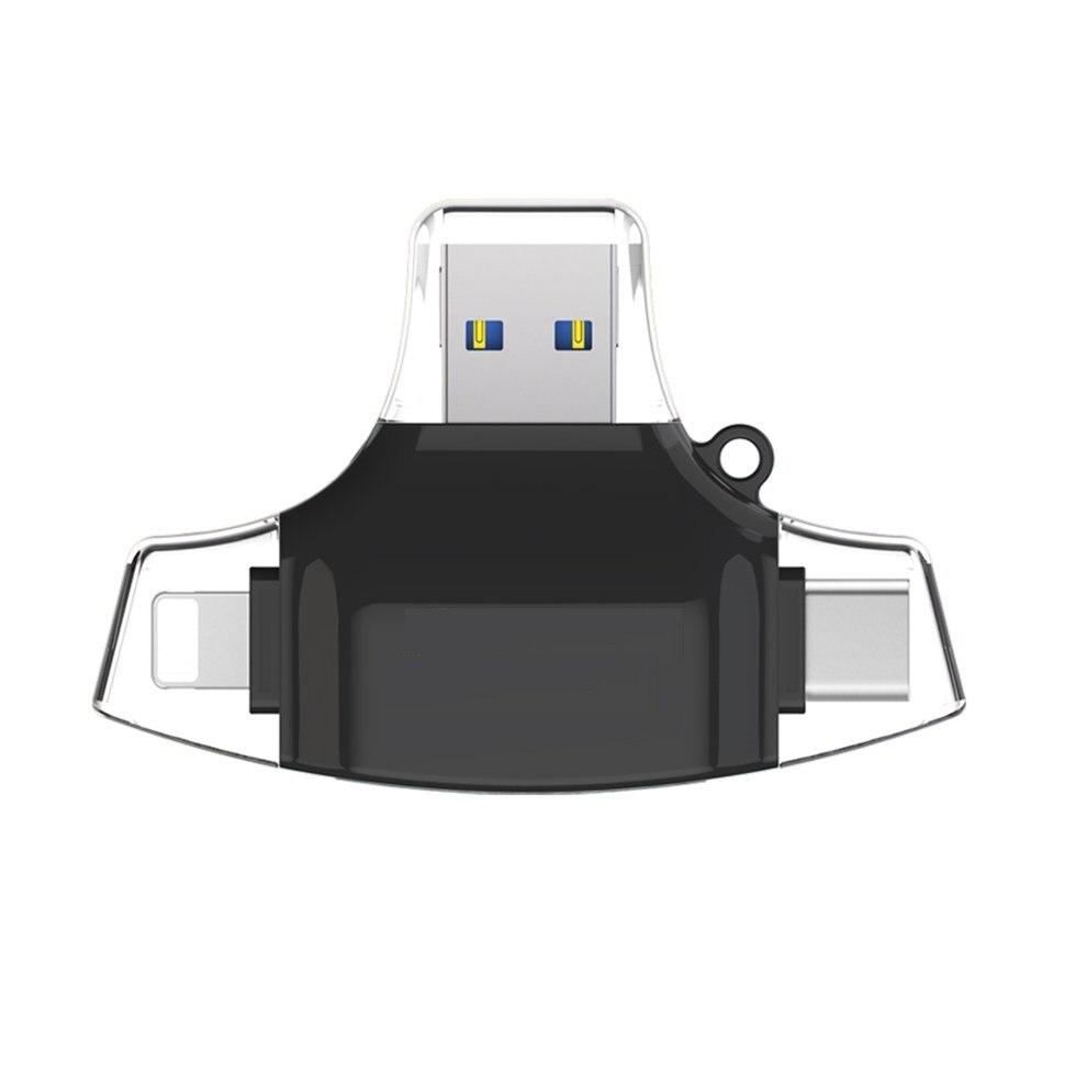 Connecteur noir adaptateur de moyeu OTG Type C USB TF lecteur de carte mémoire Flash 4 en 1 lecteur de carte de téléphone portable multifonctionnel
