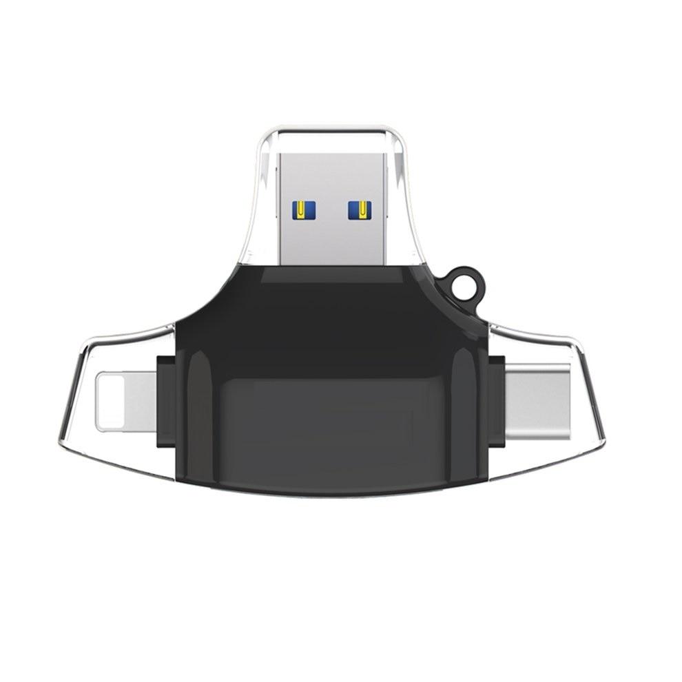 Noir Connecteur OTG HUB Adaptateur Type C USB TF Carte Mémoire Flash Lecteur 4 dans 1 Multifonctionnel Mobile Téléphone Carte lecteur