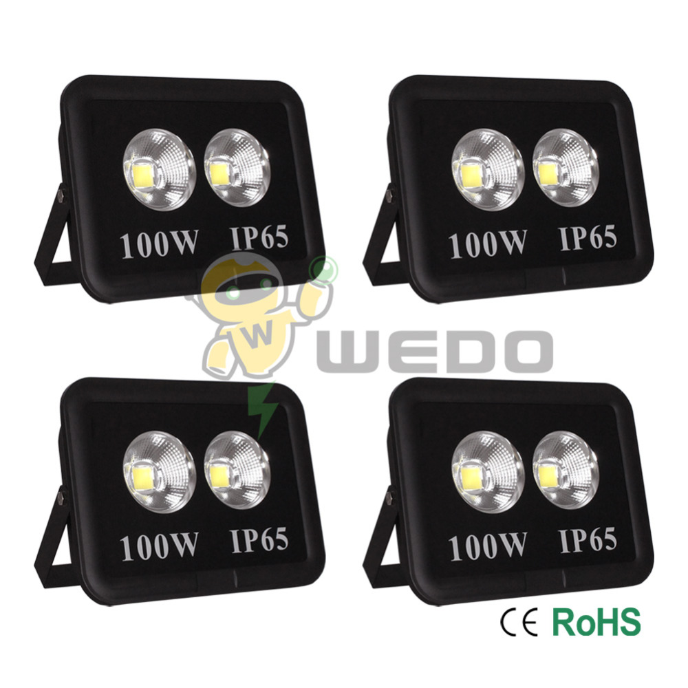 4 PCS 100W LED Flood Light Waterproof Outdoor Lamp IP65 Blackbody Cool White/Natural White/Warm White 85-265V waterproof solar 2w 7000k 200lm 30 led flood cool white light project lamp black