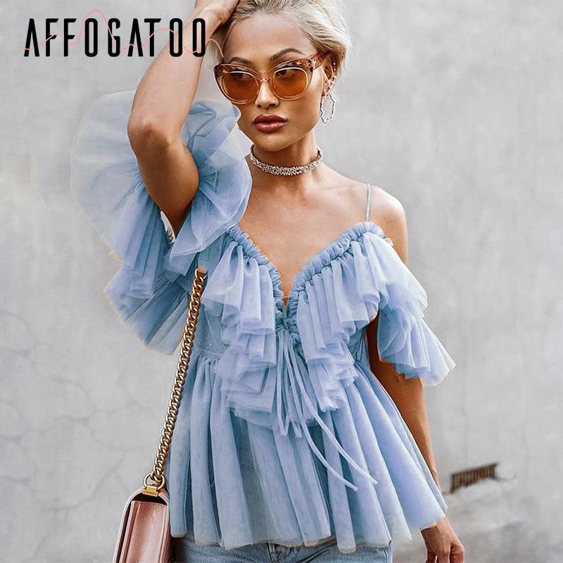 Affogatoo Sexy V Neck Off Shoulder Peplum Blouse Top Women Pleated Vintage Ruffle Mesh Blouse Shirt Casual Summer Sleeveless Top
