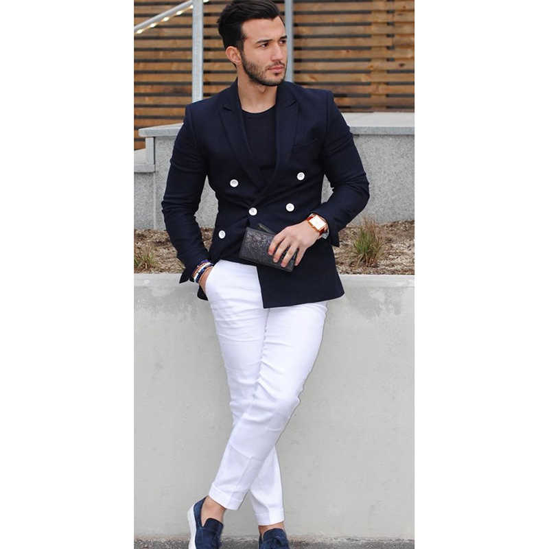 2017 Navy Blue Double Breasted Men Suit Casual Blazer costume homme Tuxedo Custom Jacket Style men Suit 2pcs(jacket+white pants)