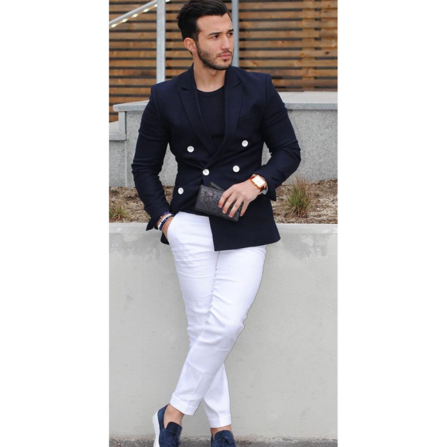2017 azul marino doble pecho hombres traje Casual Blazer