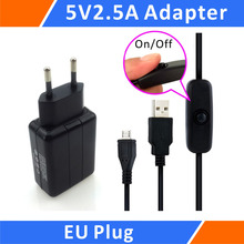 Cheaper Raspberry Pi 3 5V 2.5A Power Supply / Adapter / Charger and Micro USB Cable with ON / OFF Switch kit  (EU)