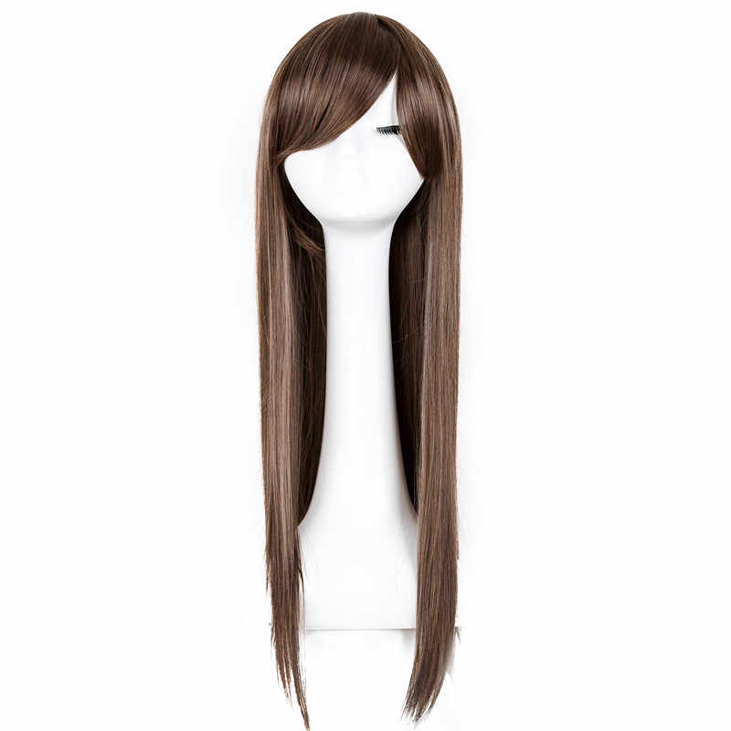 Fei-Show Synthetic Lady's Heat Resistant Long Straight Hair Costume Cos-play Halloween Salon Party Inclined Bangs Women Wigs
