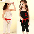 2017 fashion girls Rompers clothes kids Girls harness Big Flower Slingshaped piece clothing set kids summer Jumpsuit clothes