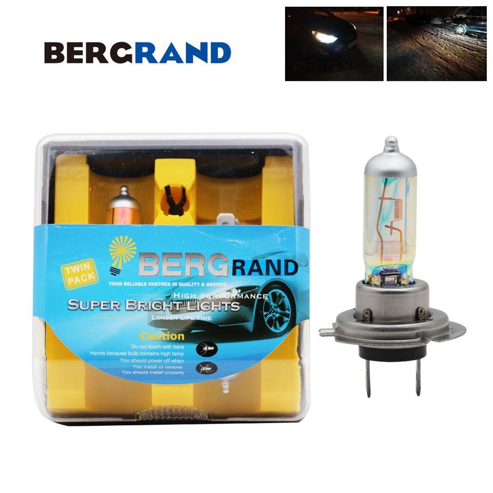 H7 halogênio arco-íris azul 12 v 55 w xenon gás 3700-3800 k carro cabeça lâmpada luzes de nevoeiro bulbo vidro duro para todos os tempos 2 pces