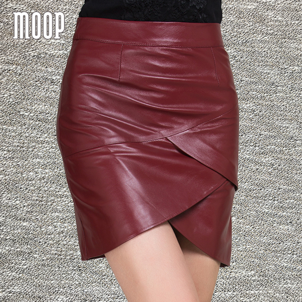 2017 New spring red black genuine leather skirts mini mermaid skirt faldas jupe saia etek 100