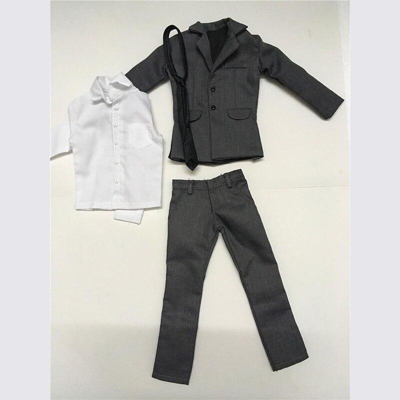 1/6 échelle hommes gris costume manteau pantalon chemise cravate modèles pour 12 ''figurines corps jouets cadeaux accessoires bricolage